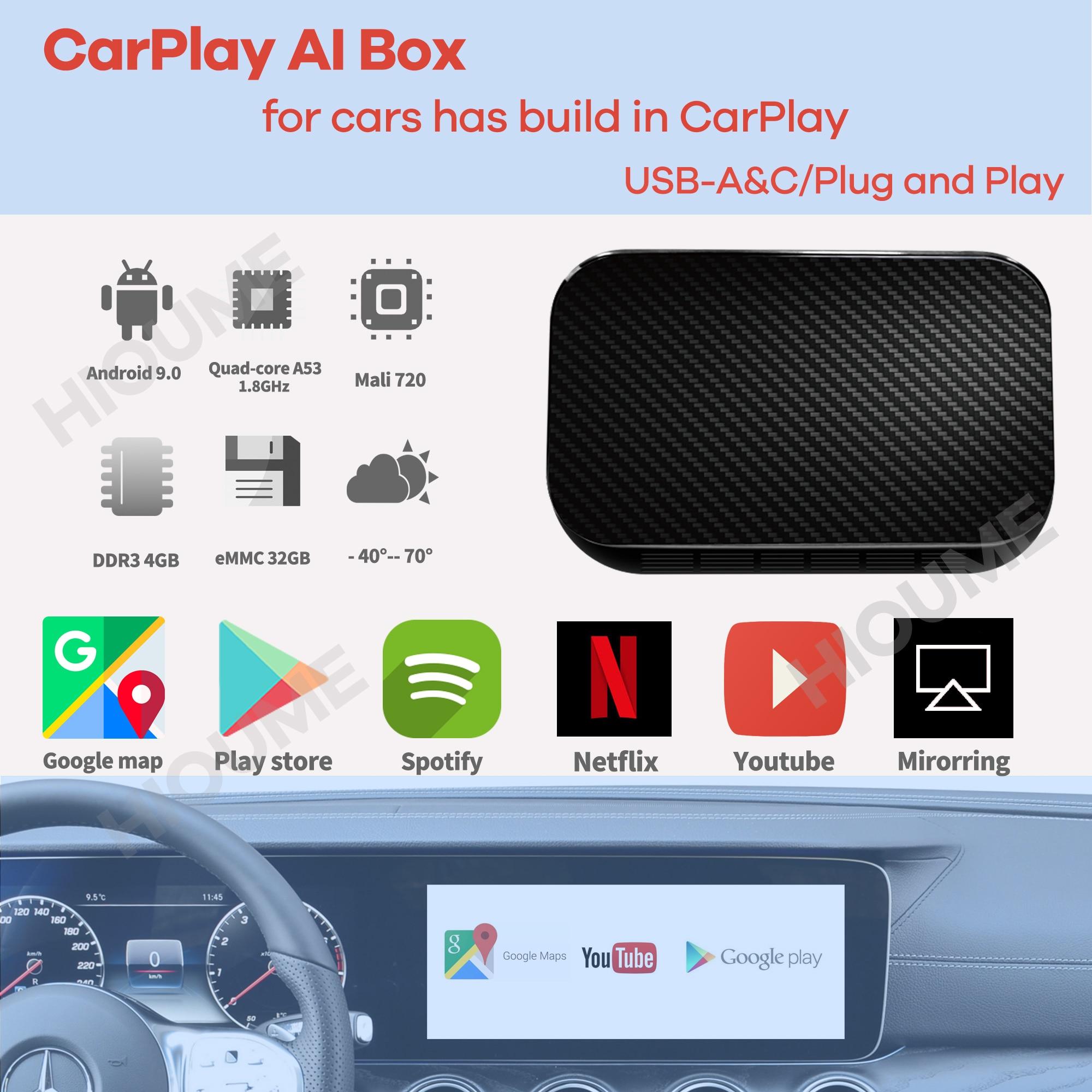 Android 9,0 4 + 32G inalámbrico de Apple CarPlay Ai caja de Android/iPhone Universal coche reproductor Multimedia GPS Youtube Netflix Auto caja de TV
