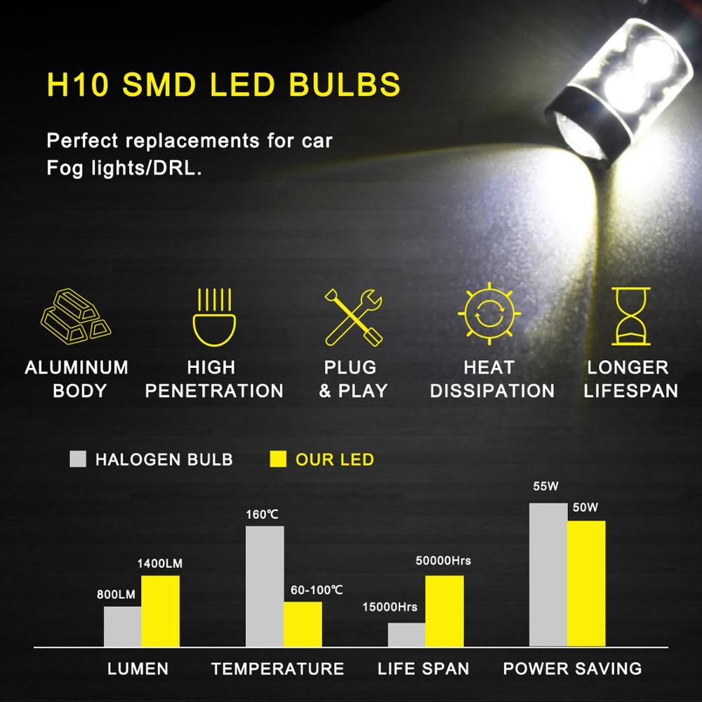 2Pcs 880 881 H27 LED Bulb H8 H11 LED Fog Light Bulbs For Hyundai Solaris Elantra Sonata Accent Tucson Ix35 I20 I40 Car Fog Lamp