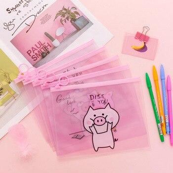 Kreatywny różowy Piggy A5 plik Holder koreański styl śliczne serce pierścienie Zipper piórnik worek do przechowywania piśmienne