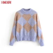Tangada women geometric oversize knitted sweaters long sleeve vintage lady fashi