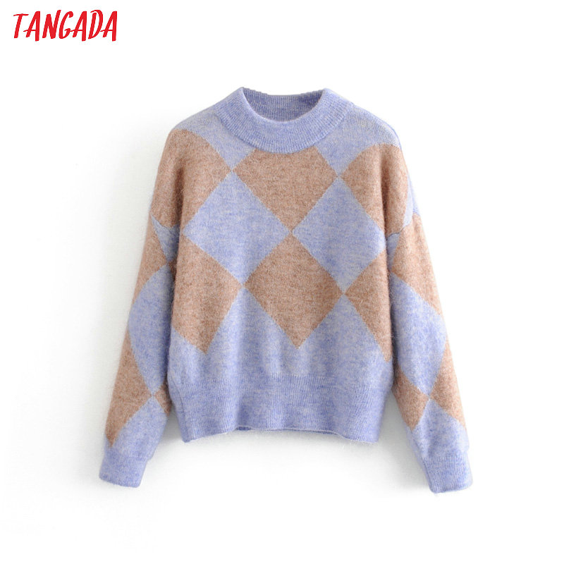 Tangada Women Geometric Oversize Knitted Sweaters Long Sleeve Vintage Lady Fashion Pullovers Winter Thick Stylish Tops 3H83