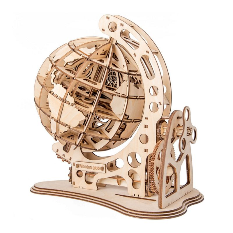 3D Wooden Globe Puzzle DIY Mechanical Drive Model Transmission Gear Rotate Decor