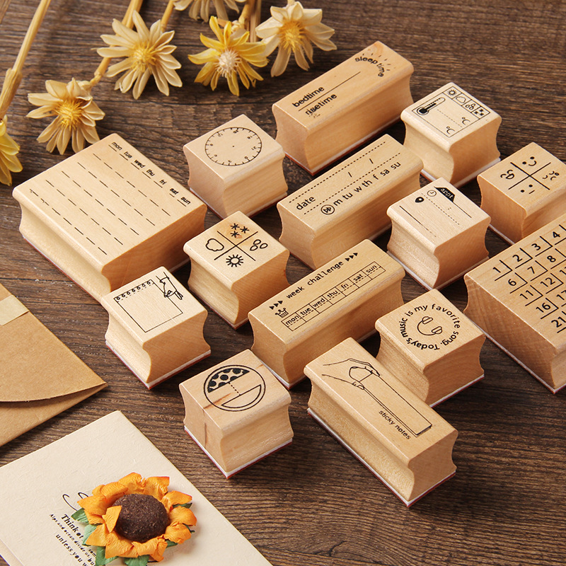 Vintage Travel Wooden Rubber Stamp Scrapbooking Craft Diary Postcard Diy Set Decor