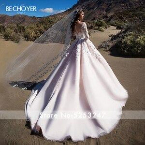 Image 3 - Bechoyer Sweetheart Applicaties Wedding Dress Charmant 3D Bloemen A lijn Roze Prinses K192 Vestido De Noiva Aangepaste Bruid Gown