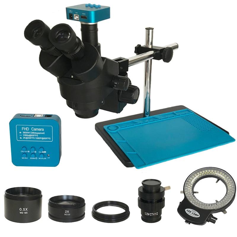 3.5X-90X Trinocular Stereo Microscope 38MP HDMI USB Video Led Lights Microscopio Camera Magnifier Jewelry Phone Pcb Repair