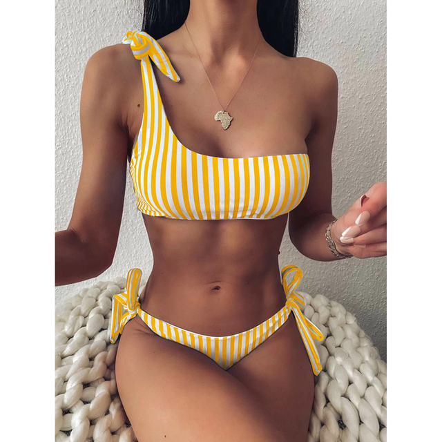 Women Summer Striped Bikini Set Bandage Push-Up Padded Swimwear Swimsuit 2 Piece Suit Beach Summer Wear Suit