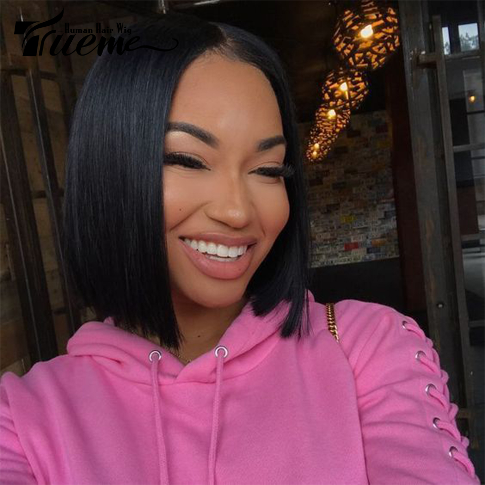 Trueme Brazilian Straight Remy Hair I Part Lace Human Hair Lace Wigs For Black Women Layered Short Bob Lace Front Wigs Sale