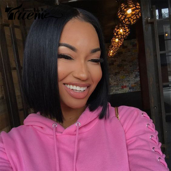Trueme Brazilian Straight Remy Hair I Part Lace Human Hair Lace Wigs For Black Women Layered Short Bob Lace Front Wigs Sale цена 2017