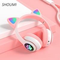 Auriculares con orejas de gato para chica, cascos inalámbricos por Bluetooth con micrófono, TF, FM, Chico, estéreo, regalo