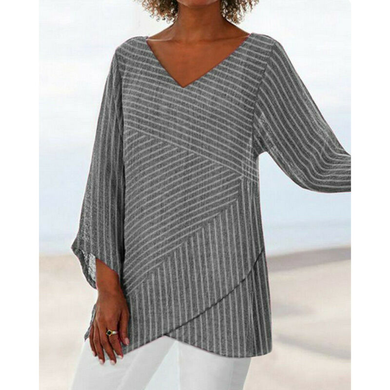 Stripe Blouse Office Lady Tops Elegant Print V Neck Long Sleeve Blouse 2019 New Autumn Womens Tops And Blouses Plus Size Shirt