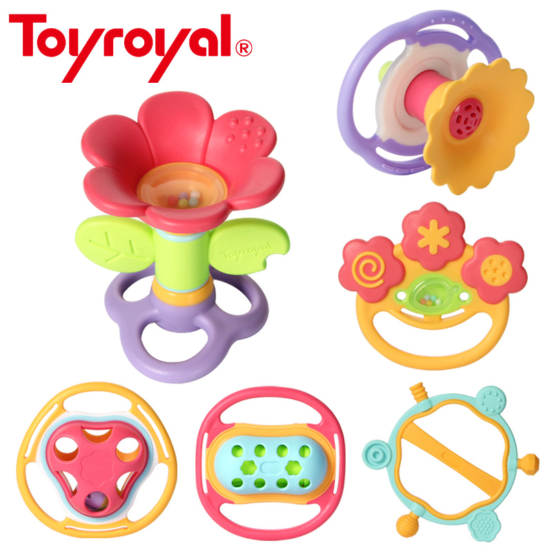 Toyroyal Soft Flexible Teether Rattle Infant Baby Educational Soothing Toys For Children Newborn Gifts Non-toxic Flower Chime