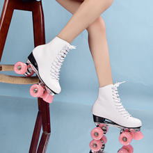 цена на Skate For girls  leather boots, roller skates, double-row skates, Makaron fruit Pink Lake green PU four-wheel double-row skates
