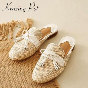 Krazing pot new natural leather round toe low heels outside slipper bowtie Korean girls fashion hollow maiden summer pumps L06