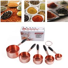 Spoon-Set Stainless-Steel Copper And with Soft Measuring-Cups 10-Piece