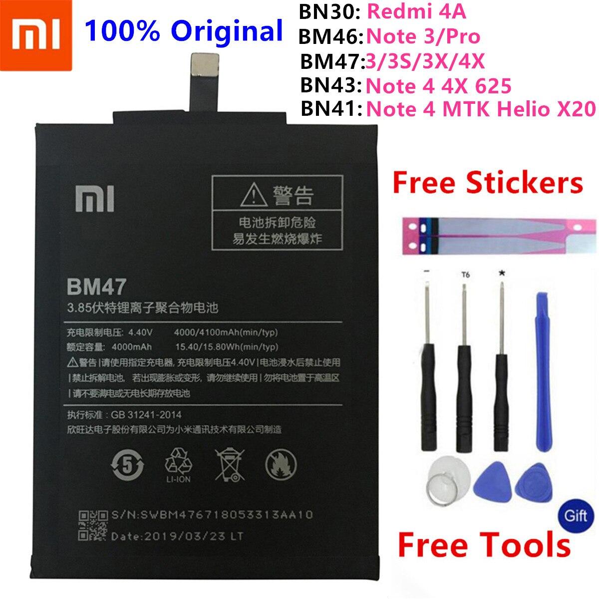 Xiao mi bateria original do telefone para xiao mi nota vermelha 4 4x5 3 pro 3 s 3x 4x mi 5 m5 4a nota 5a/pro 5 mais baterias de substituição