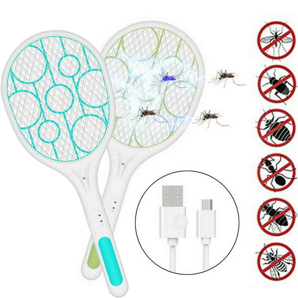 USB Rechargeable Household Electric Mosquito Pat Built-in LED Light Insect Racket Killer Swatter Bug Mosquito Handheld Racket