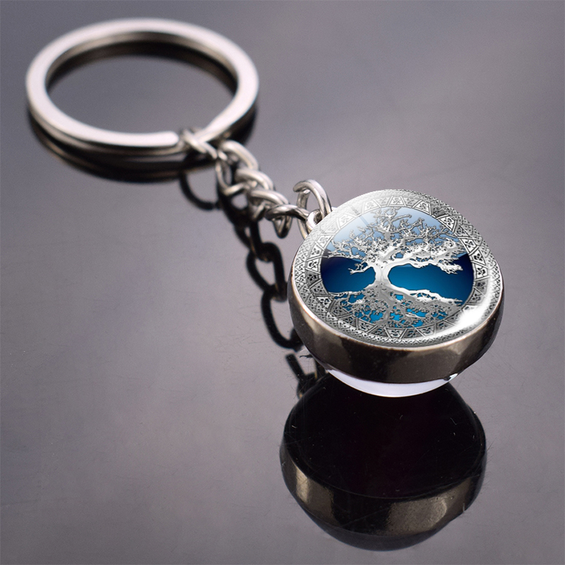 Tree Of Life Keychain Art Photo Crystal Ball Keychain Women Fashion Car Key Chain Rings Yinyang Pendant Christmas Gift