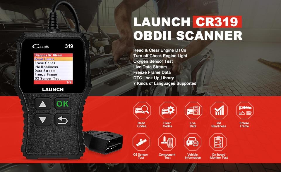 Hc96927a10c8b496da561572ce7ecf520X Launch X431 Creader 319 CR319 Auto Code Reader Full OBDII EOBD Automotive Diagnostic Tool OBD2 Scanner as Creader 6001 CR3001