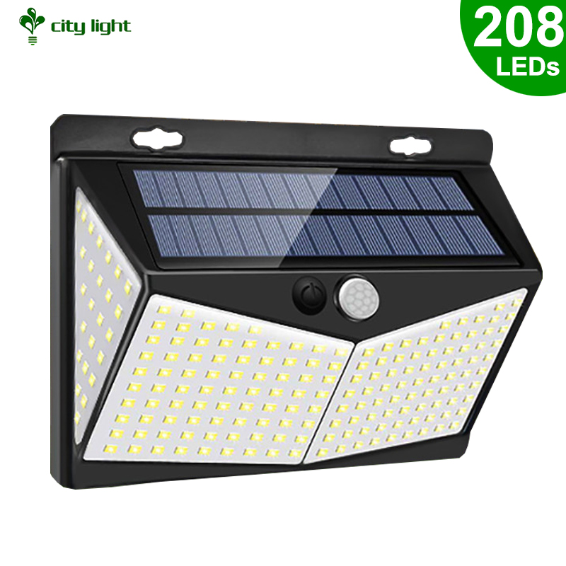 208 LEDs Highlight Solar Wall Motion Sensor LED Lights 3 Modes PIR Human Body Induction For Outdoor Garden Security