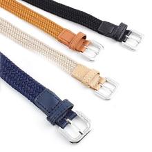 1Pc Canvas Elastic Thin Belt Woven Waistband Unisex Alloy Pin Buckle Waist Belts Women Jeans Decorative Belt Fashion Waistband