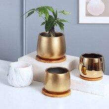 Modern Golden Ceramic Vase Gold Marble Flower Vase Home Tabletop Ornaments Home Round Flowerpot Dried Vases Arrangement Decor