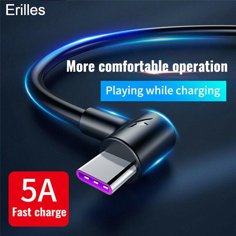 Кабель USB Type C 5A для Samsung Huawei P40 pro Xiaomi, зарядный шнур с очень быстрой зарядкой, длиной в 1, 2, 3 м