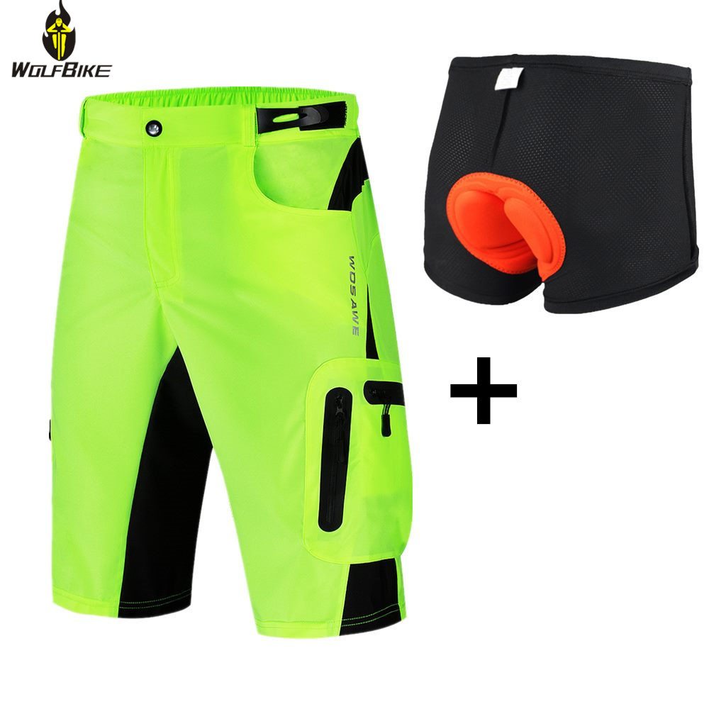 Wolfbike Men's Downhill Cycling Shorts Water Resistence Thin Breathable Riding Clothing Bicycle Sportswear MTB Bike Shorts Tight