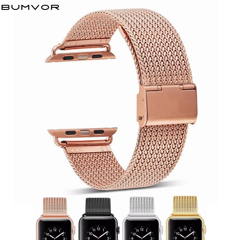 Milanese Watchband for Apple Watch 38mm 42mm Stainless Steel Gold Women Men Replacement Bracelet Band Strap for iwatch 5 4 3 image