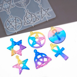 DIY Crystal Epoxy Resin Mold Pentagram Six Point UV Epoxy Silicone Mold Pendant Jewelry Making Tools Mold For Resin