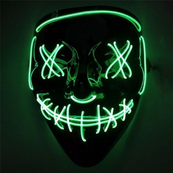 2019 New Halloween LED Mask Purge Masks Election Mascara Costume DJ Party Light Up Masks Glow In Dark 12 Colors Masque V image