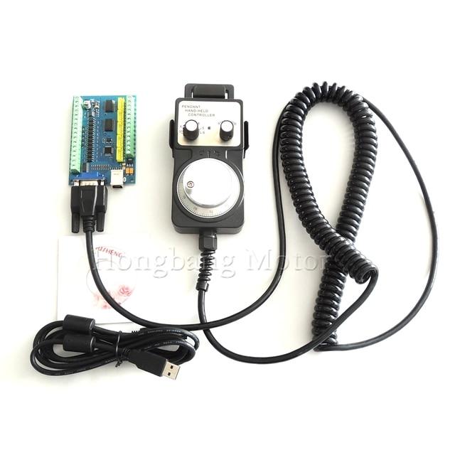 MACH3 USB 5 Achse 100KHz USBCNC Glatt Stepper Motion Controller karte breakout board + 1 stücke Hohe qualität industrielle hand rad