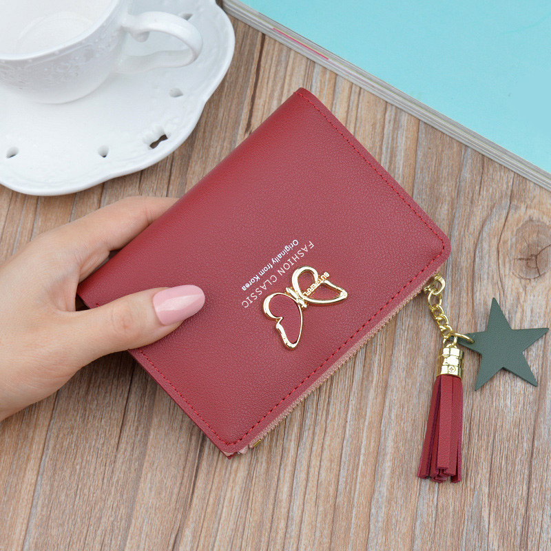 Fashion Women's Wallet Short Butterfly Tassel Woman Wallet For Lady Small Coin Purse Card Holder Mini Clutch Bag Female Wallets