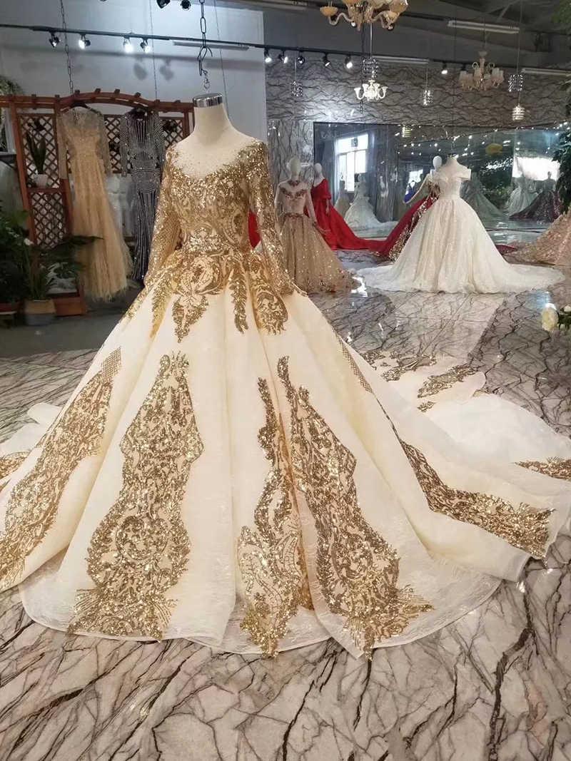 BGW 2021118ht luksusowe błyszczące suknie wieczorowe ze złotymi cekinami długie rękawy Lace Up powrót sukienek długi pociąg sukienka muzułmańska