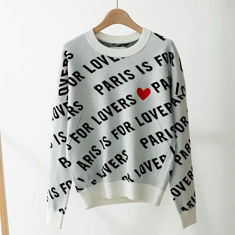 Women Hoodie Cotton Letter Love Printed Knitted  Sweatshirt