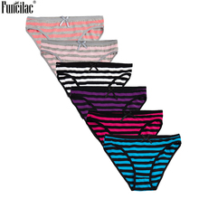 FUNCILAC Women Cotton Cute Underwear Panties Stripe Print Briefs Bow Bikini Knickers Lady Underpants Simple 6Pcs/lot M-XXL Black
