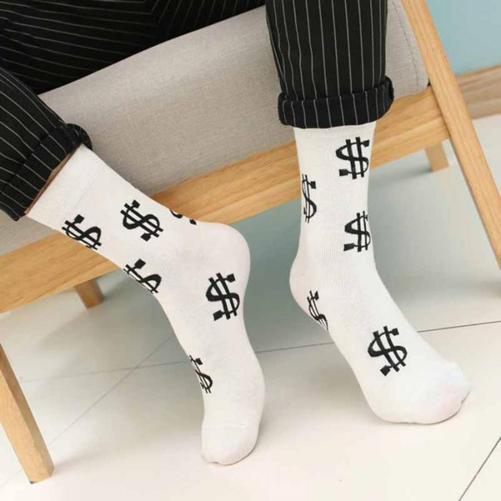 New Hot Fashion Spring Autumn Men Socks Dollar Symbol Printed Comfortable Breathable Absorb Sweat Anti slip Man Middle Long Sock