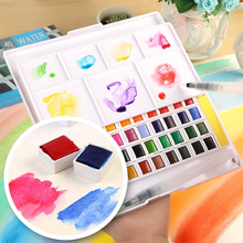 12/18/24/30/36/40Colors Solid Pigment Watercolor Paints Set Portable Travel With Water Color Brush Pen For Painting Art Supplies