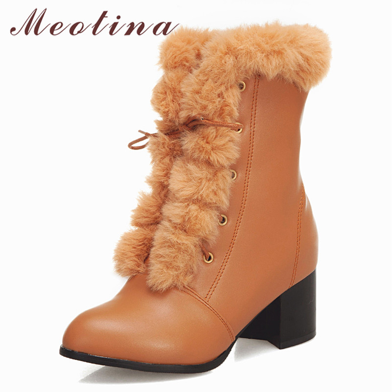 Short Boots Shoes Fur 33-46 High-Heels Pointed-Toe Large-Size Winter Ladies Fall Lace-Up