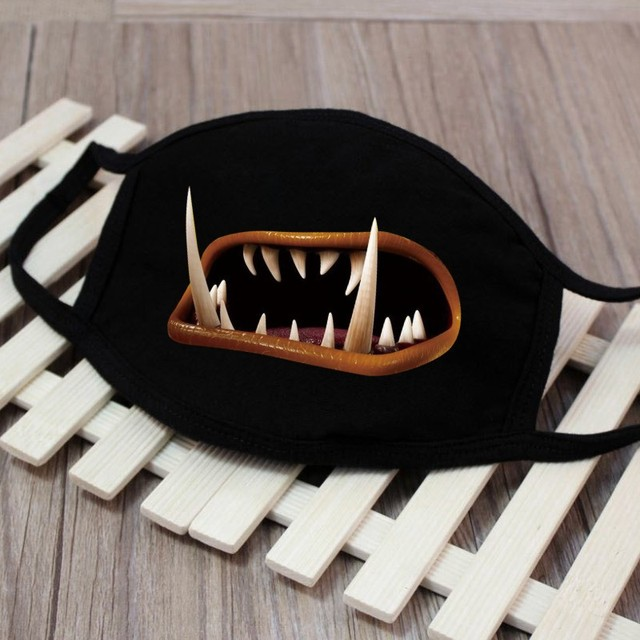 1pc Cute Unisex Funny Tooth Dust Mask Lips Fangs Cotton Mask Cartoon Kpop Flu Mask Emotiction Masque Hot 5