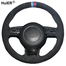 DIY Car Steering Wheel Cover Volant Funda Volante Leather Suede Volant For Audi A3 A4 A5 A6 A7 Allroad RS 7 2014-2015 S6 S7 2013