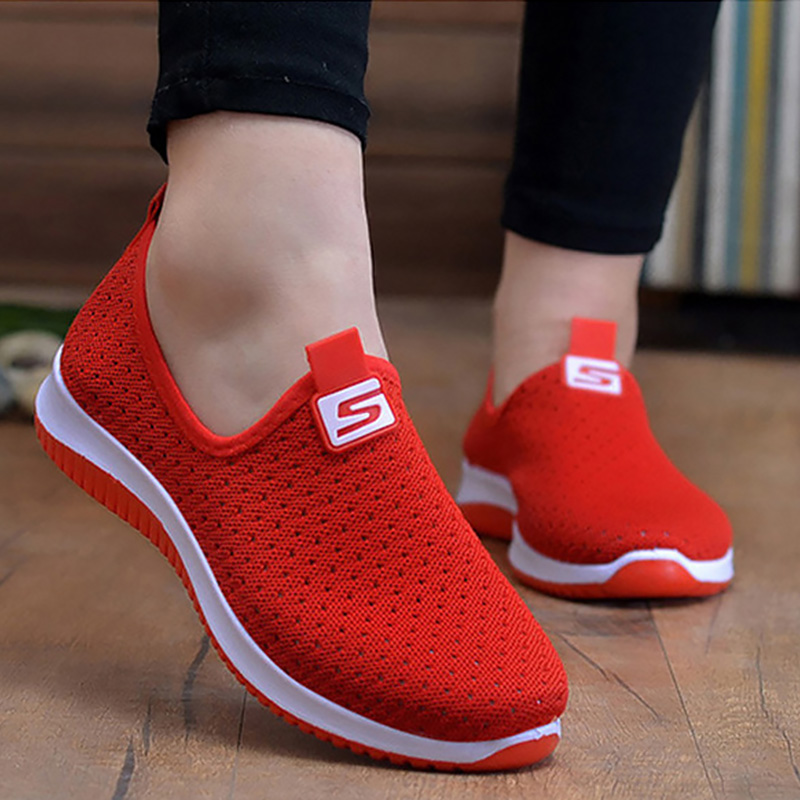 Women's Outdoor Fashion Air mesh Upper <font><b>Material</b></font> Breathable <font><b>Shoes</b></font> Casual <font><b>Shoes</b></font> Slip-On Travel Running <font><b>Shoes</b></font> Low Heel Height <font><b>Shoes</b></font> image