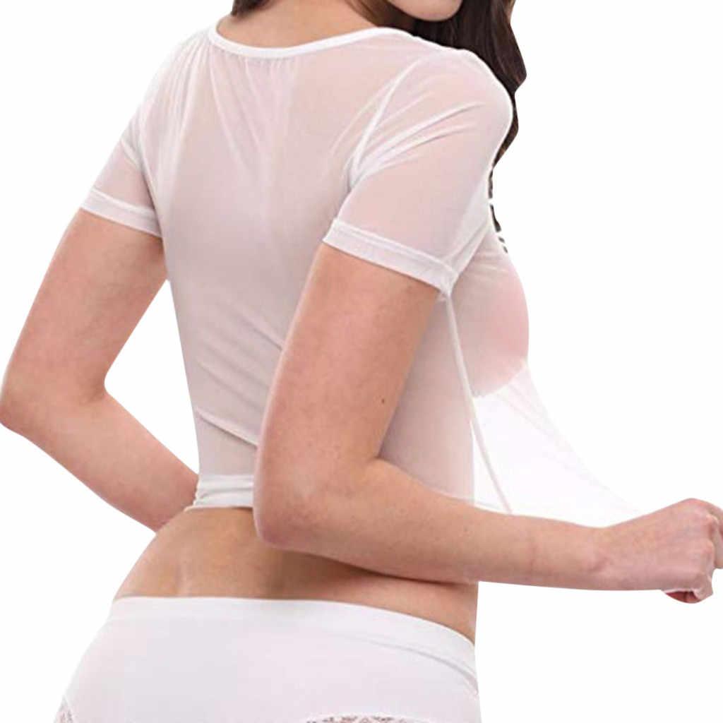 Womens Short Sleeve 섹시한 블랙 쉬어 메쉬 탑 T 셔츠 Streetwear Tees 슬림 투명 투명 자르기 탑 Clubwear 2020 NEW
