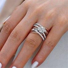 Anillo de compromiso redondo de cristal grande para mujer, sortija de compromiso femenina, Color plateado, oro rosa, anillo de piedra de circón, anillos de boda Vintage para mujer