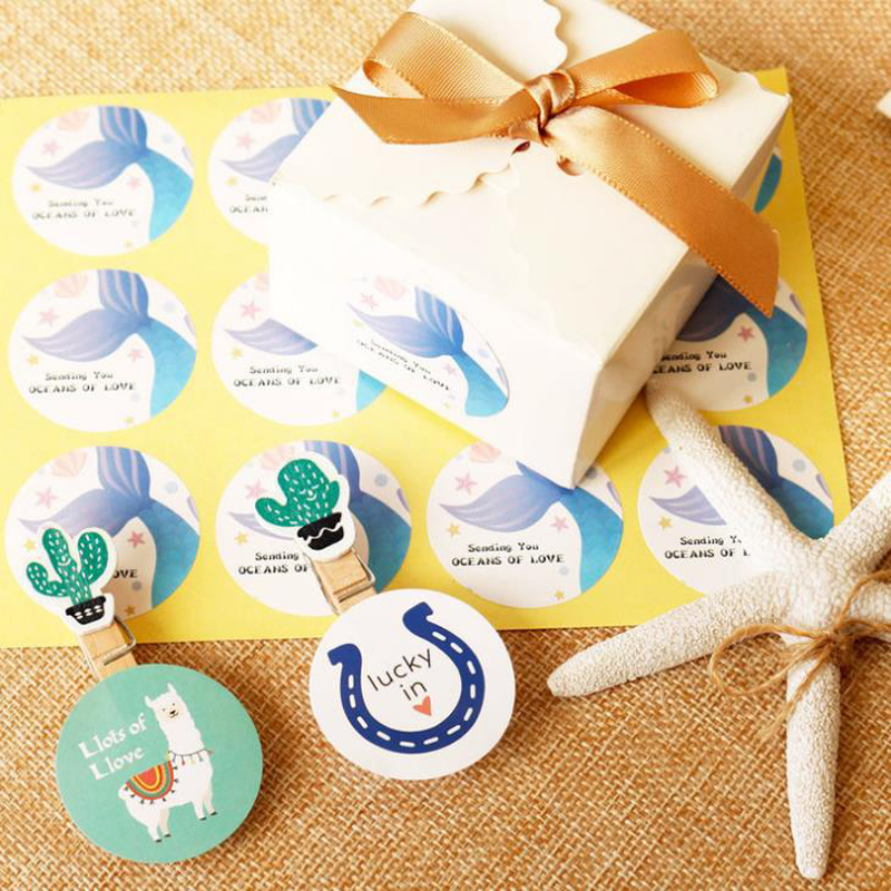 Paper Mermaid Decoration Gift Box Candy Bag Sticker Gifts Boxes Seal Label