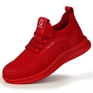 Image 3 - الرجال حذاء امن للعمل الرجال في الهواء الطلق الصلب تو الأحذية العسكرية القتالية حذاء من الجلد غير قابل للتدمير أنيق تنفس أحذية رياضية
