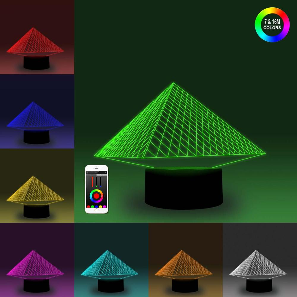 NiteApps 3D Pyramid Night Light Desk Table Illusion Decoration Lamp Holiday Birthday Gift APP/Touch Control