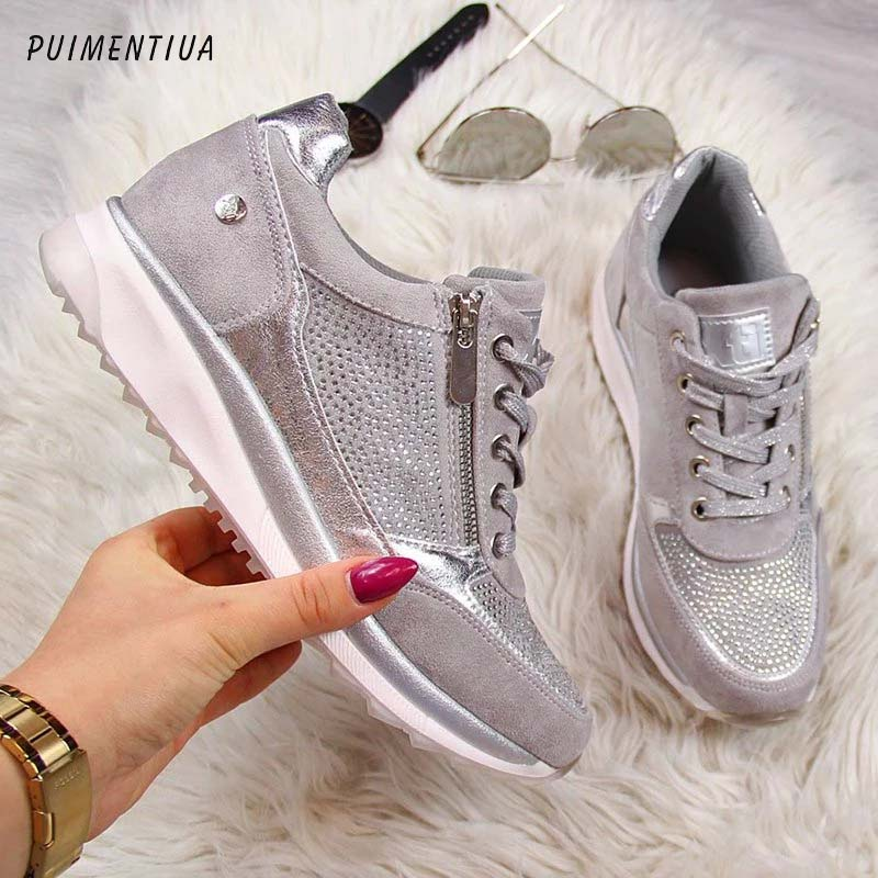 Gold Sneakers Tenis Platform-Trainers Women Shoes Feminino Casual Zipper Lace-Up Zapatos-De-Mujer title=