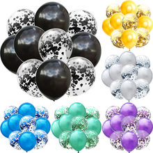 10 Stk/partij Mix Zwart Zilver Confetti Ballonnen Birthday Party Bruiloft Decoratie Metallic Helium Ballon Baby Shower Glitter Globos