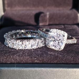 Image 3 - Moonso diseño de moda 925 anillos de pareja de plata AAA CZ piedra conjunto de anillos de compromiso para las mujeres boda joyería R4950