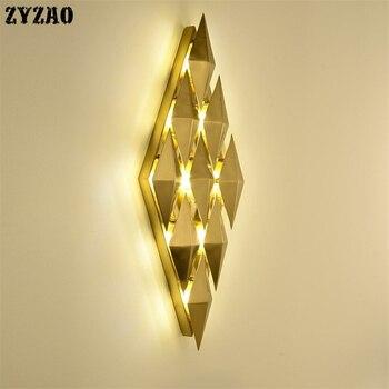 Posmoderno Simple lámpara de pared de lujo sala de estar TV Fondo pared dormitorio cama pared luces de hierro arte Metal flor Led Wandlamp
